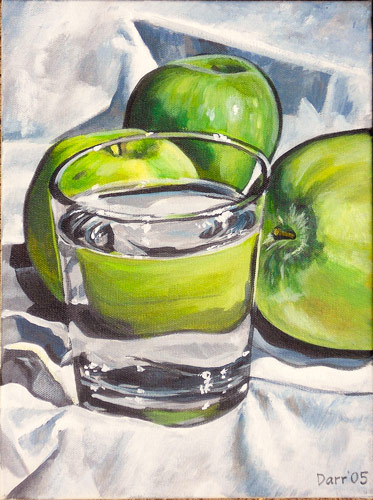 Water glass with green apples, 2005